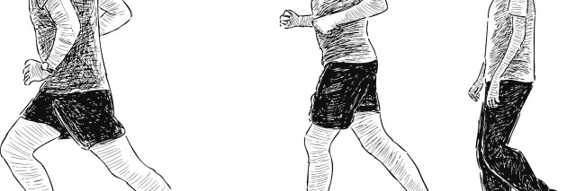 Vector sketch of the young men for a jog.