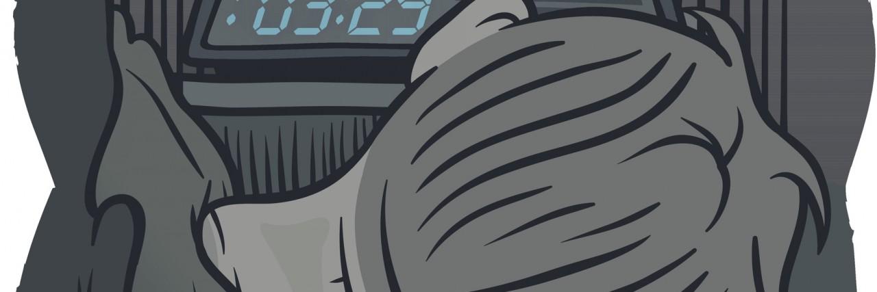 person facing alarm clock in bed