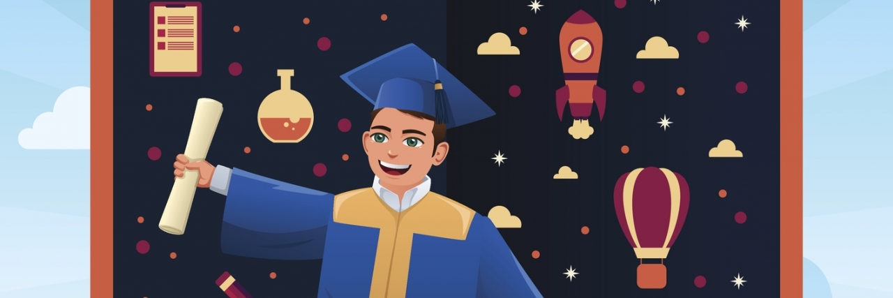 A vector illustration of graduation student standing on top of stack of books