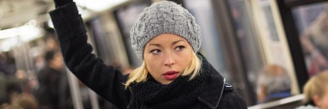 Woman on subway.