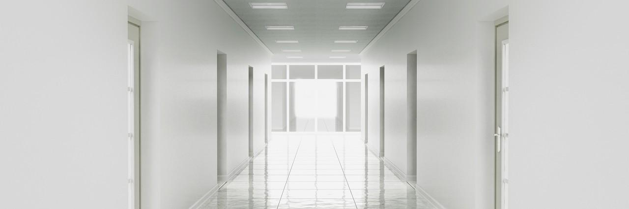 3d rendering of white office corridor