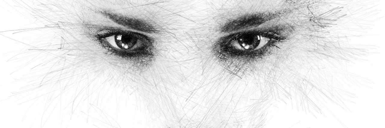 drawing of woman's eyes and lips