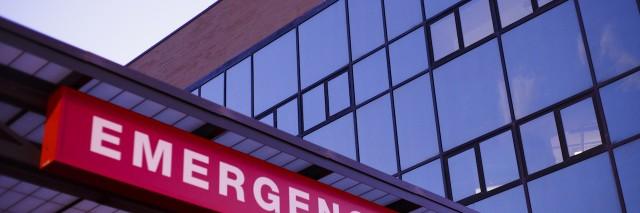 An emergency department sign.