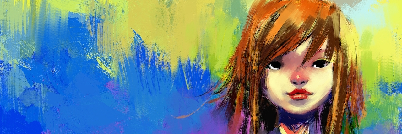 digital painting of girl, acrylic on canvas texture