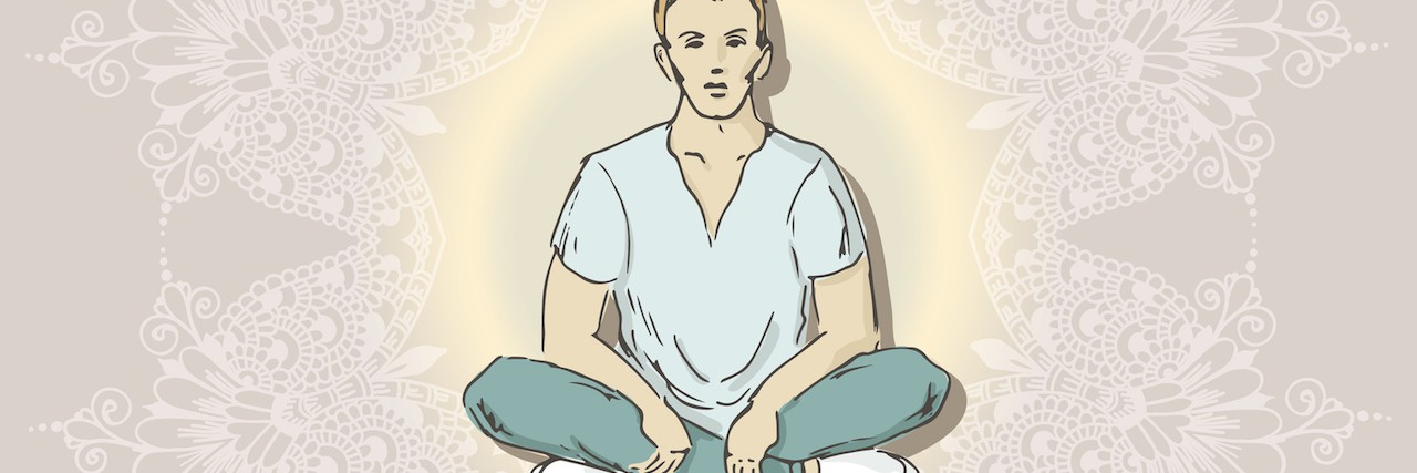 sketch of young boy sitting with his legs folded