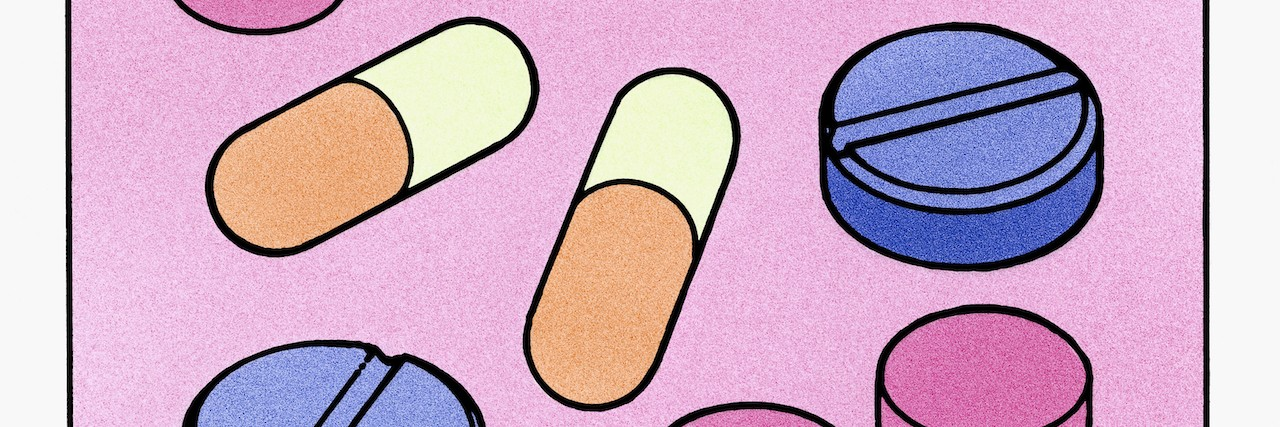 Illustration of colorful pills