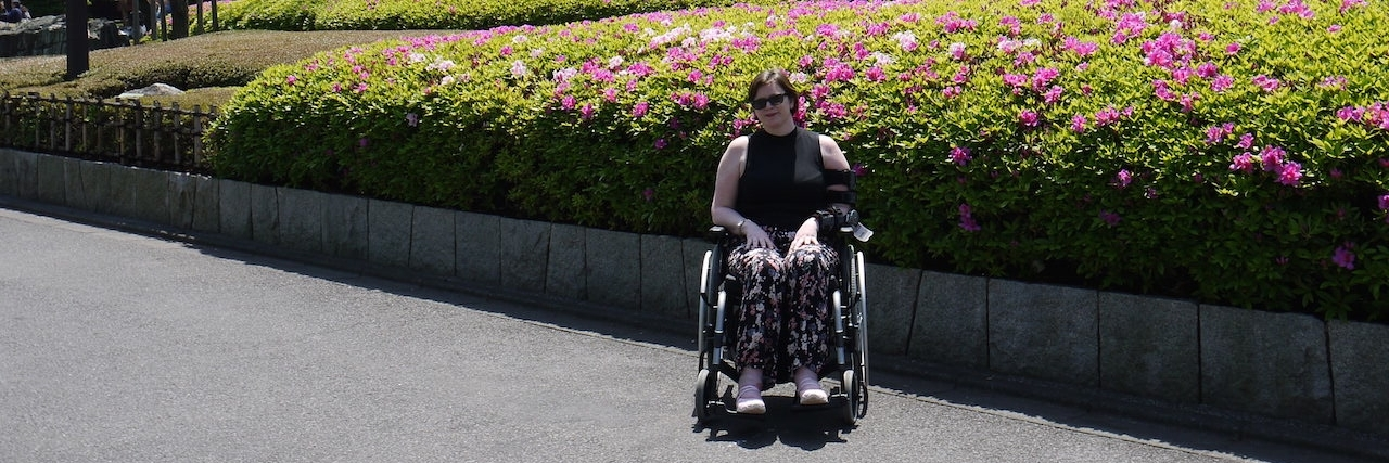 Rebecca traveling with her wheelchair
