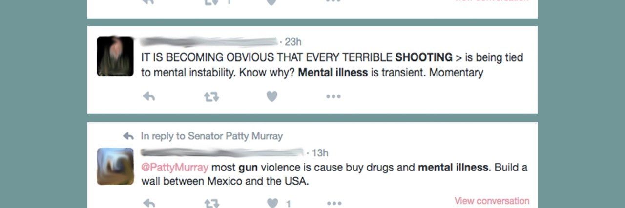 Tweets about mental illness and gun violence