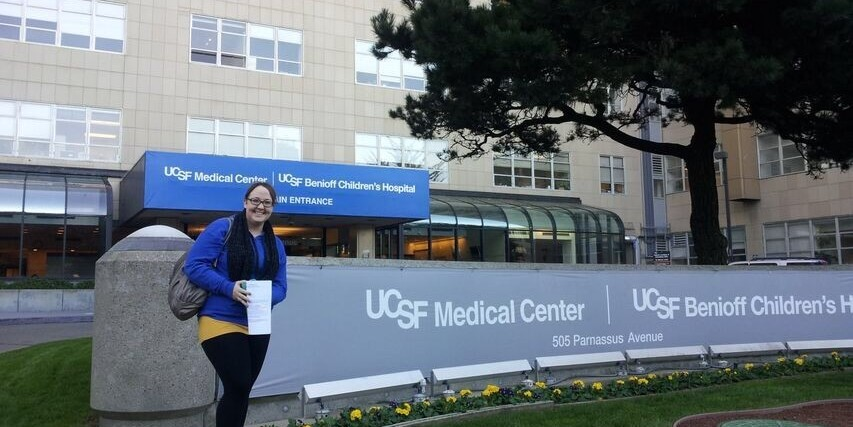 woman standing in front of building at UCSF