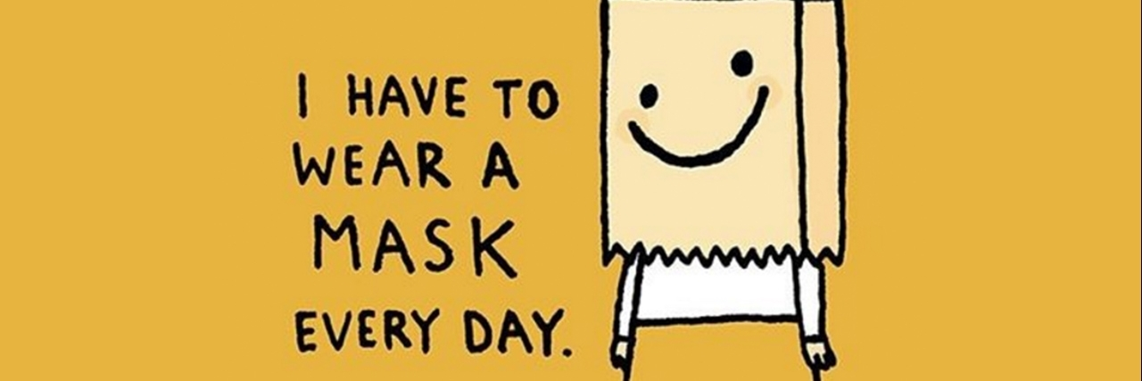 image shows a girl wearing a paper bag on her head with a drawn smile. Text reads: I have to wear a mask every day.