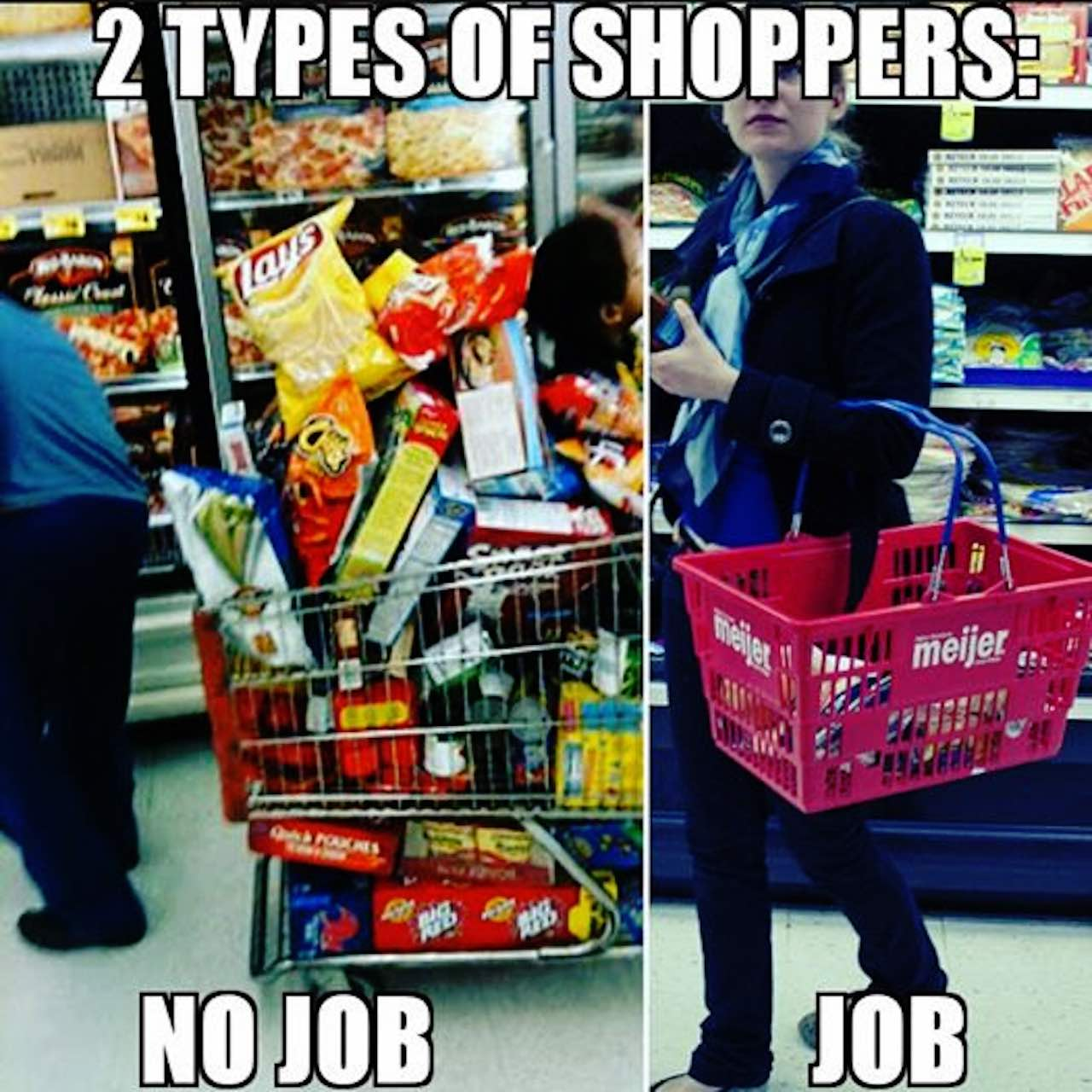 meme showing two shoppers, one with an empty cart and the word 'job' and one with a full cart and the word 'food stamps'