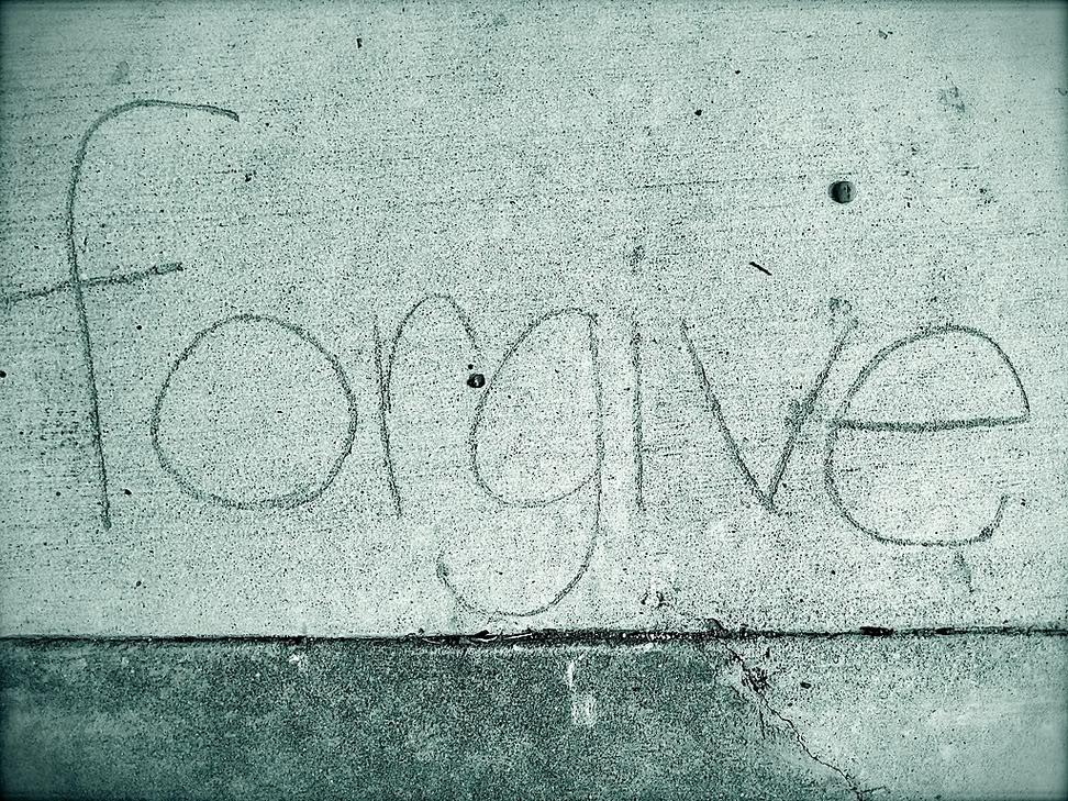 sidewalk chalk that says forgive