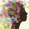woman's face silhouette with colorful circles on head