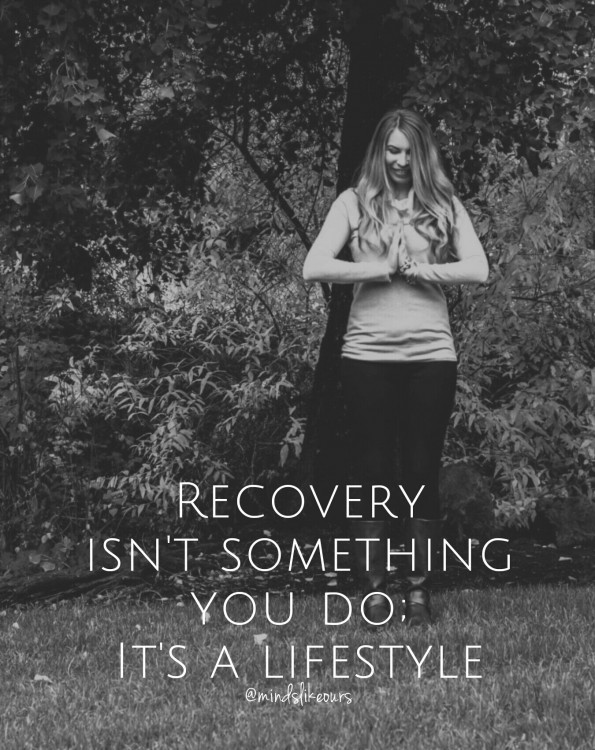 a author standing, with the text: Recovery isn't something you do, it's a lifestyle