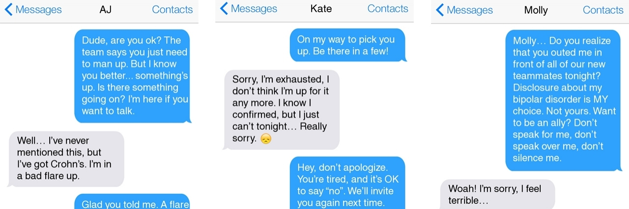 Texts about invisible disability.