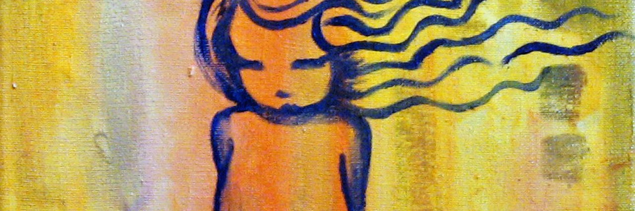 Abstract painting of a little girl on yellow background