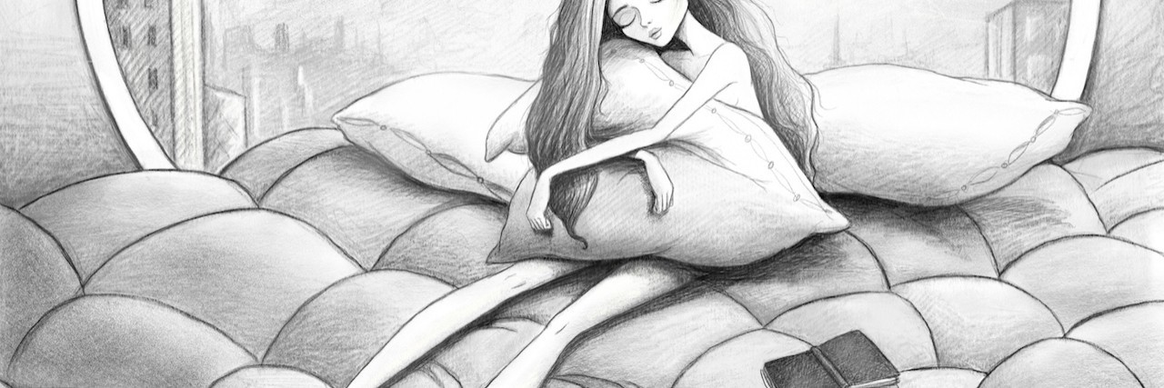 pencil drawing of a girl hugging her pillow while sitting on the bed