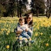 mom and son in daffodils