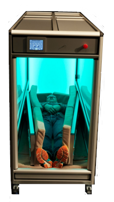 This photo from Gloria Mundi Care shows a person lying in the OrbisBox.