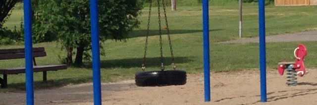 the tire swing at the playground