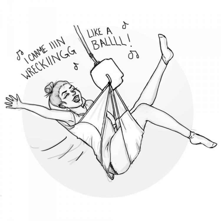 "[Image Description: drawing of a girl swinging across in a ceiling lift and sling, kicking out her arm and legs, singing ""I CAME IN LIKE A WRECKING BALL!""]"