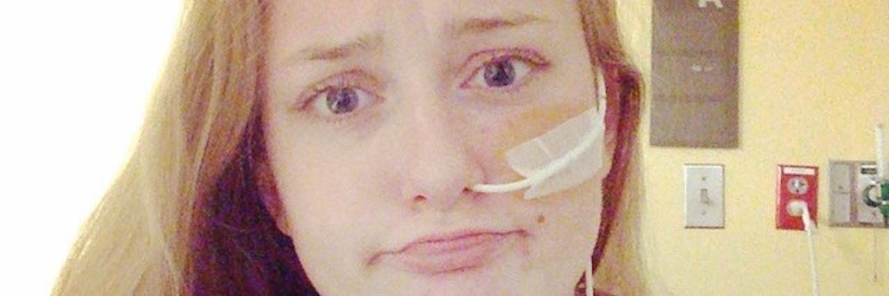 woman with a feeding tube