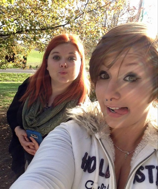 selfie of the author and her friend outside