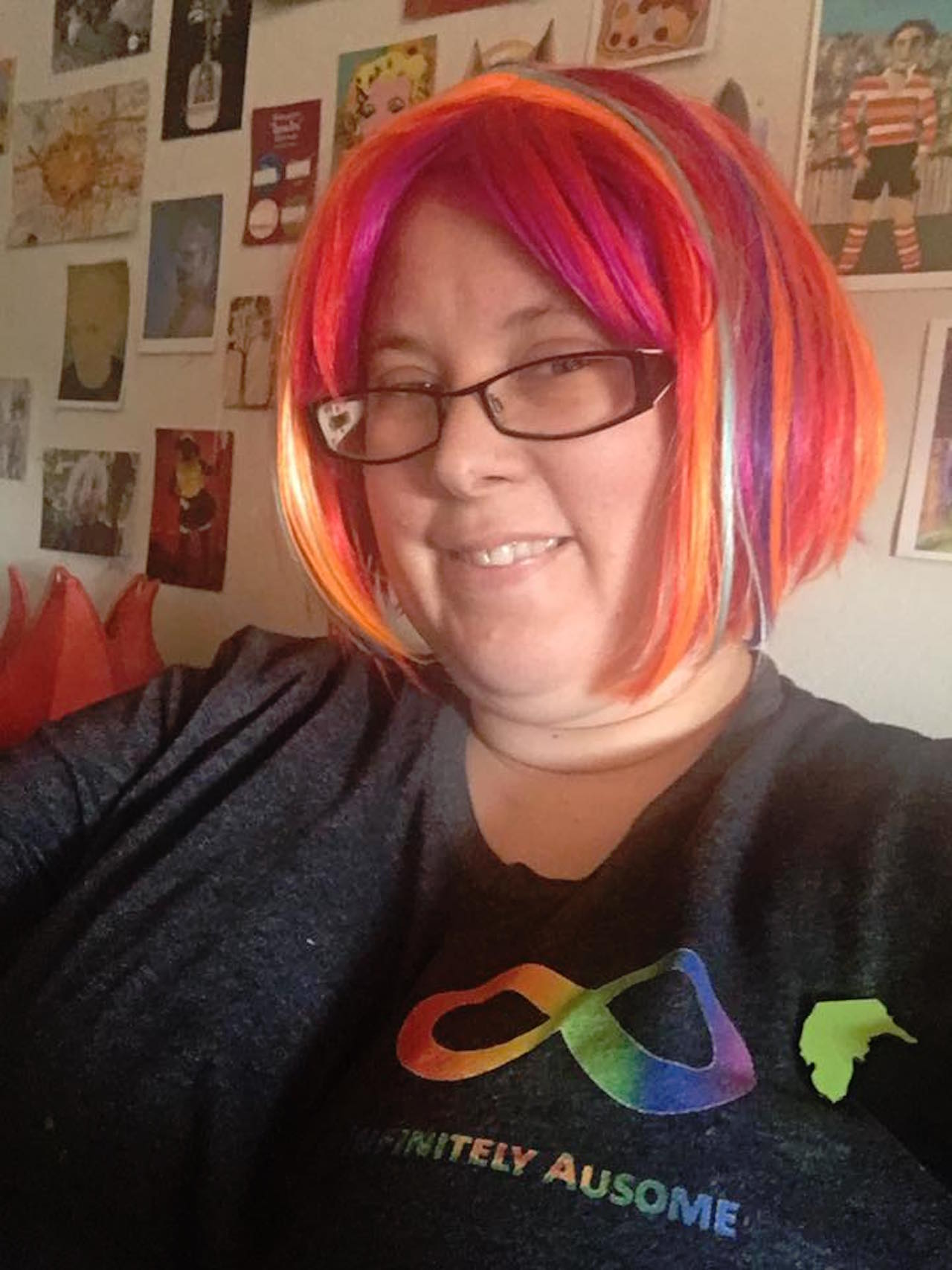 autistic woman with rainbow hair