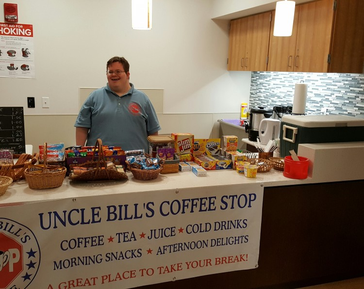 George Augstell mans the counter at Uncle Bill's Coffee Stop.