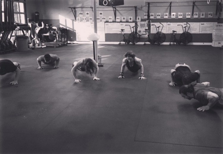 several people do pushups for PTSD awareness