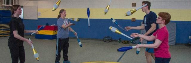 Juggling group performing