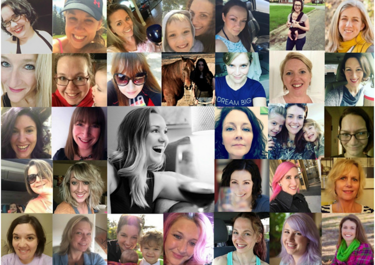 A photo grid of multiple women's headshots