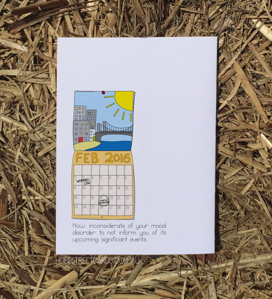 Card that shows calendar with depressive episode on it