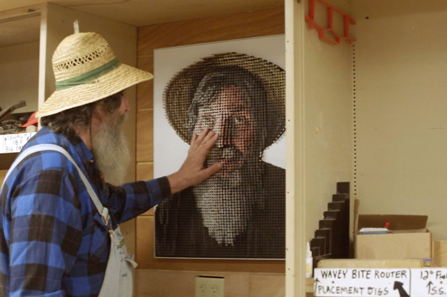 George Wurtzel Touching His Portrait for First Time