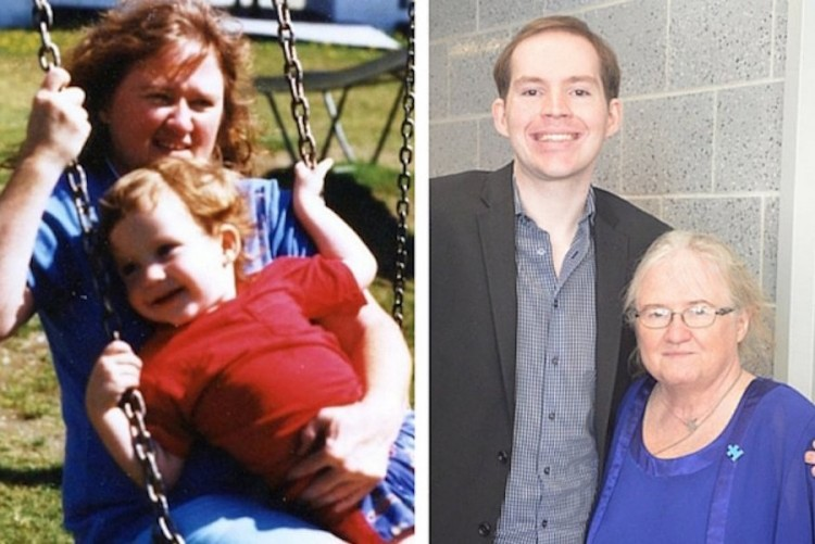 Kerry Magro with his mother, then and now