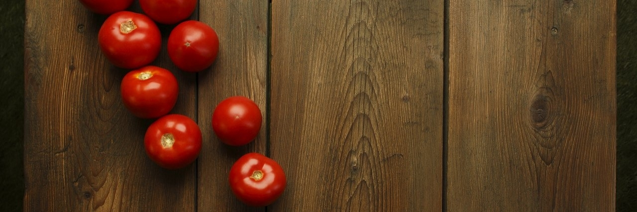 tomatoes on a picnic table