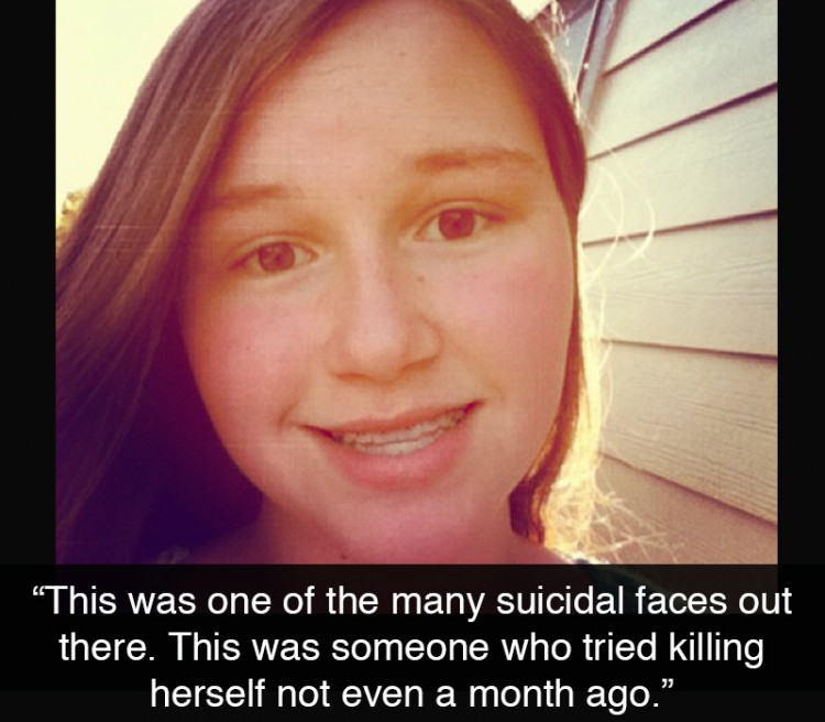 Selfie of a woman: Text reads: This was one of the many suicidal faces out there. This was someone who tried killing herself not even a month ago.