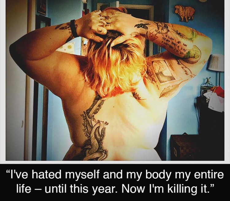 Woman, shirtless with her back to the camera. She has many tattoos. Text reads: I've hated myself and my body my entire life--until this year. Now I'm killing it.