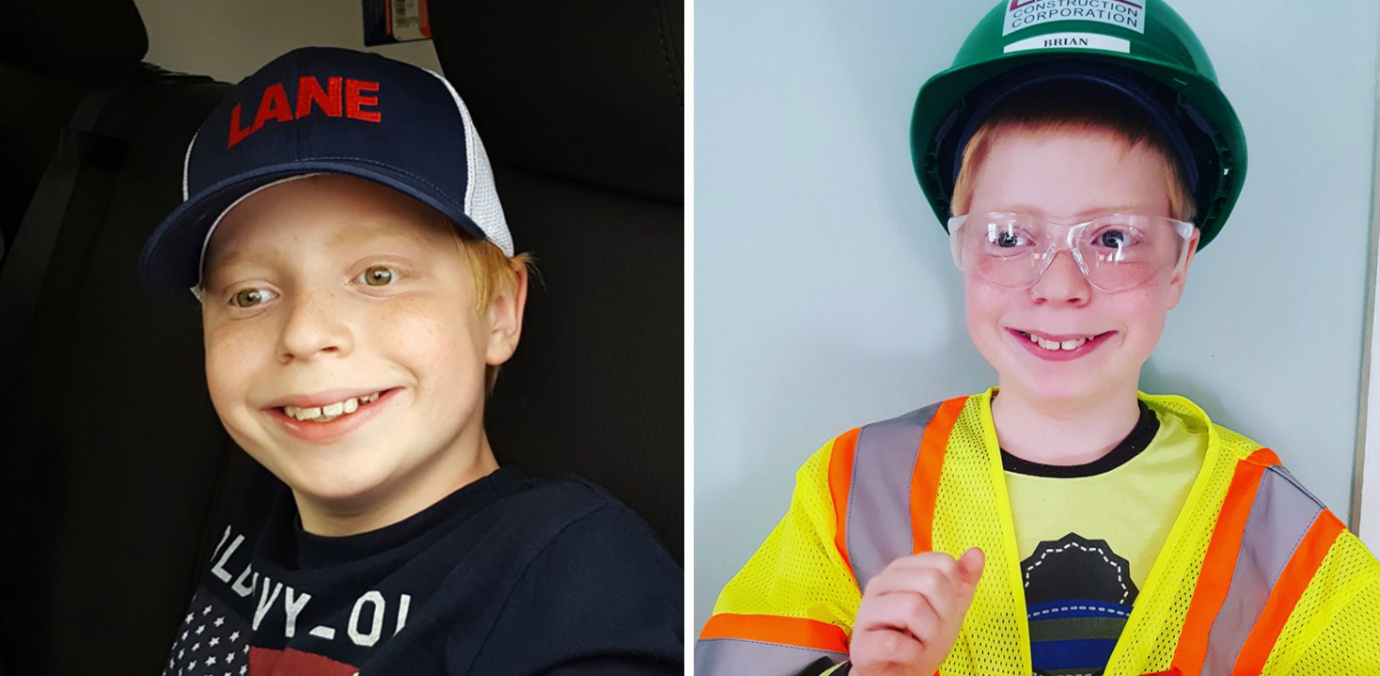 Side-by-side photos of a boy wearing a hat that says Lane and a bright yellow vest and a hard hat