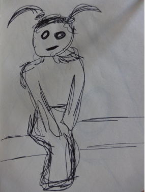 A sketch of a girl sitting