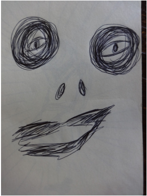 A sketch of a scary face