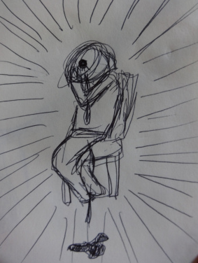Sketch a person bleeding