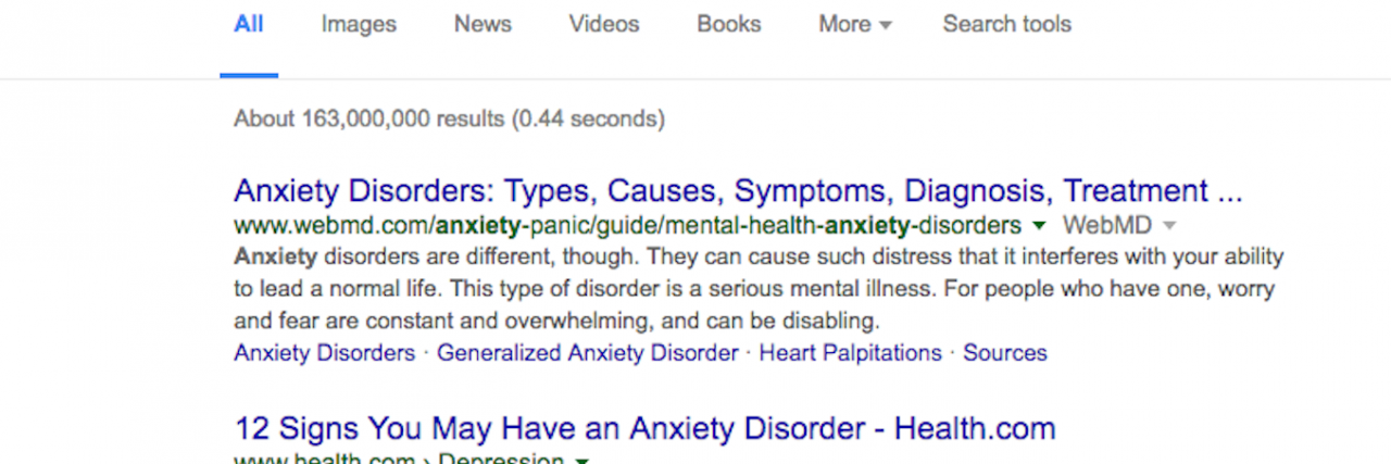 google search of anxiety
