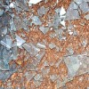Rusty old metal floor and glass