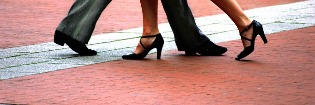 The legs of a couple dancing