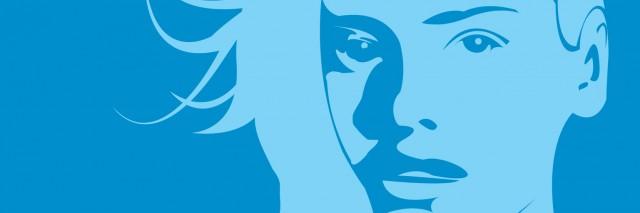 A blue portrait of a woman