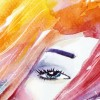 Close-up of a rainbow watercolor illustration of a woman