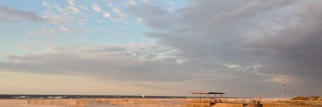 Panoramic photo of Jones Beach, NY