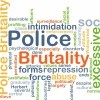Wordcloud illustration of police brutality.