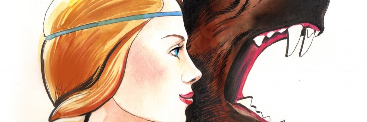 Young beautiful woman with a angry wild bear. Watercolor sketch.